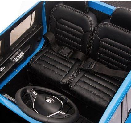 Электромобиль Volkswagen Amarok белый (легко съемный аккумулятор, 2х местный, резина, кожа, пульт музыка)