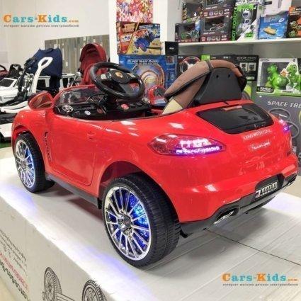 Электромобиль Porsche Panamera A444AA красный (колеса с проставкой из резины, кресло кожа, пульт, музыка)